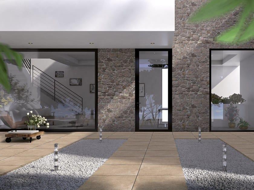 Vehicular porcelain stoneware outdoor floor tiles with concrete effect CEMENTO by GRANULATI ZANDOBBIO