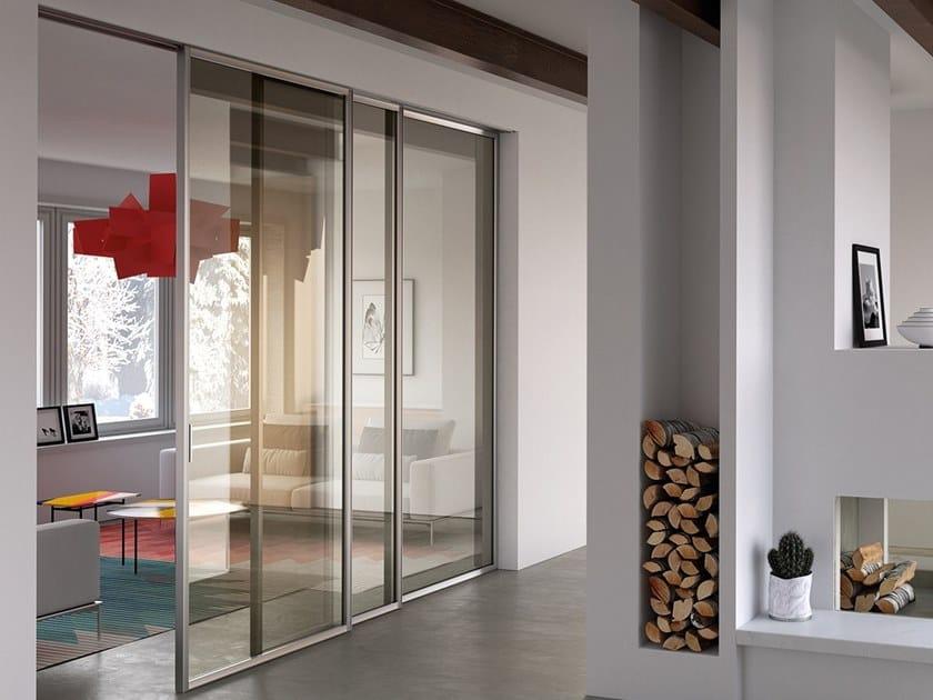 Glass and aluminium sliding door CENTRO 60 VOLTA by BARAUSSE