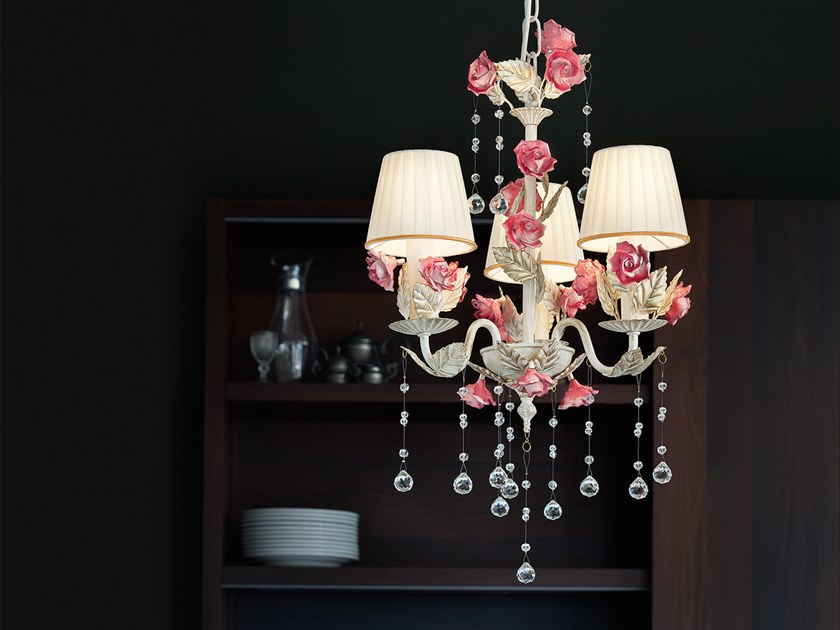 Direct light chandelier with crystals CERAMIC GARDEN 3 by Masiero