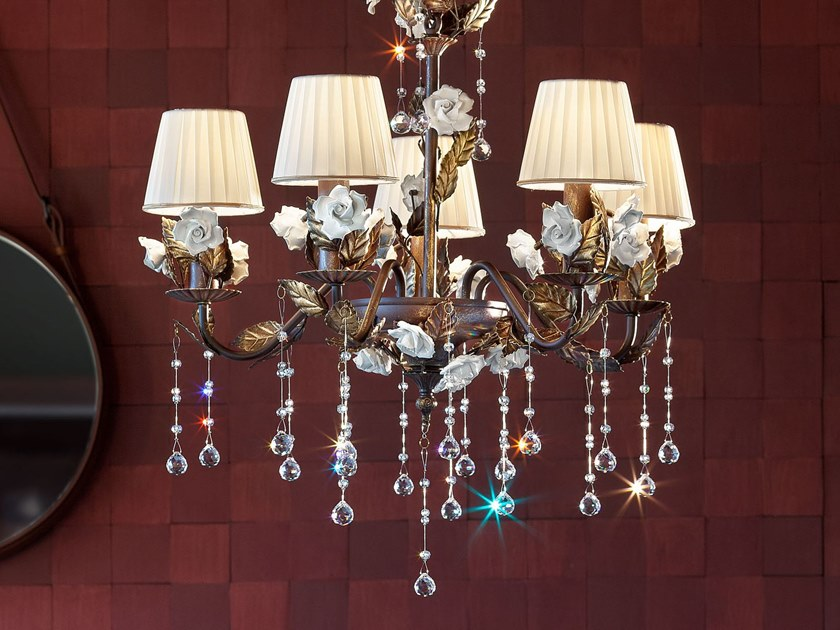 Contemporary style direct light crystal chandelier with crystals CERAMIC GARDEN 5 by Masiero