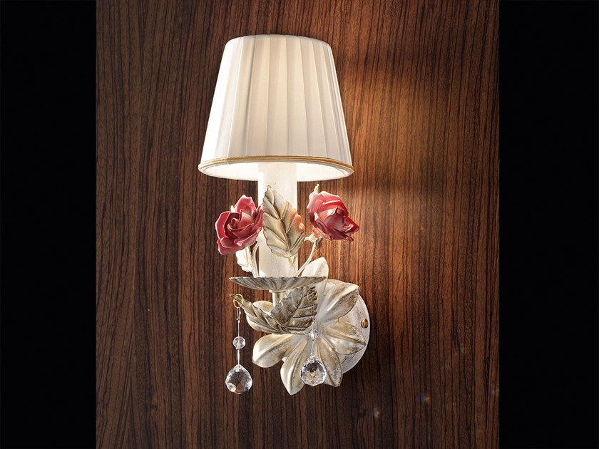 Contemporary style direct light ceramic wall lamp with crystals CERAMIC GARDEN A1 by Masiero