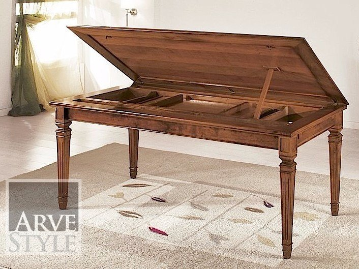 Extending solid wood table CESARE   Rectangular table by Arvestyle