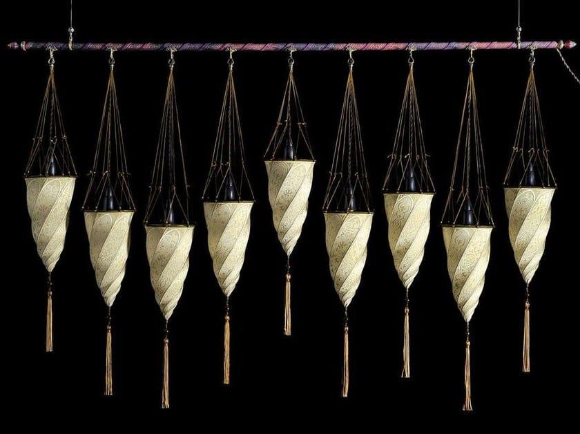 Silk pendant lamp CESENDELLO ON A ROD | Silk pendant lamp by Fortuny