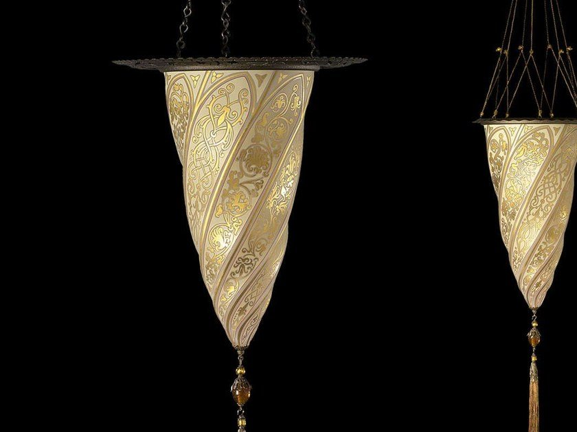 Glass pendant lamp CESENDELLO WITH METAL RING | Glass pendant lamp by Fortuny