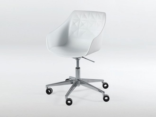 Swivel height-adjustable polyurethane chair with casters CESTER + DESK by Casprini