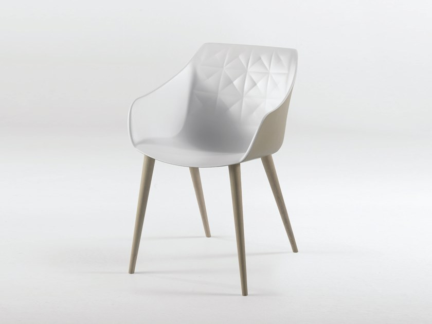 Polyurethane chair with armrests CESTER + WOOD by Casprini