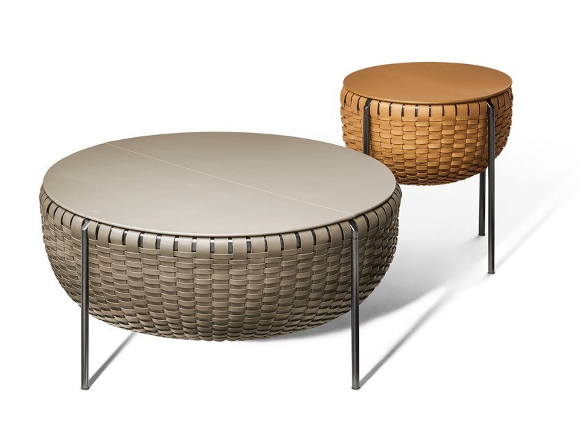 Round tanned leather coffee table with storage space CESTLAVIE by Poltrona Frau