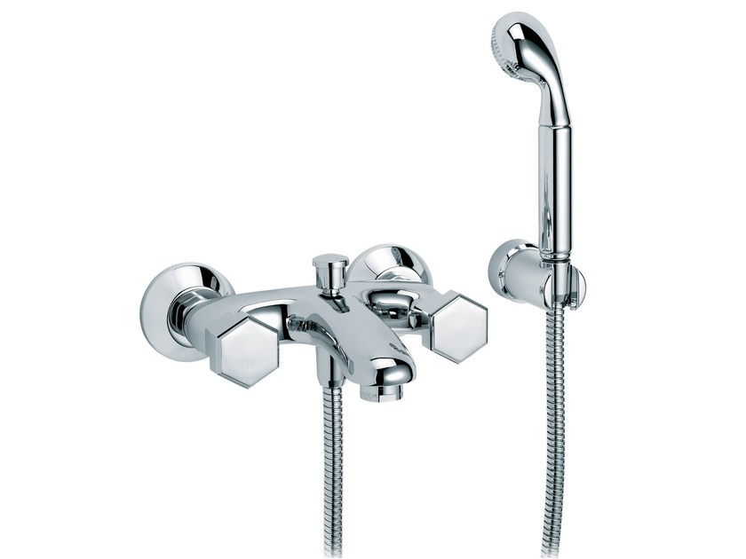 2 hole wall-mounted bathtub mixer with hand shower CHAMBORD | 2 hole bathtub mixer by rvb