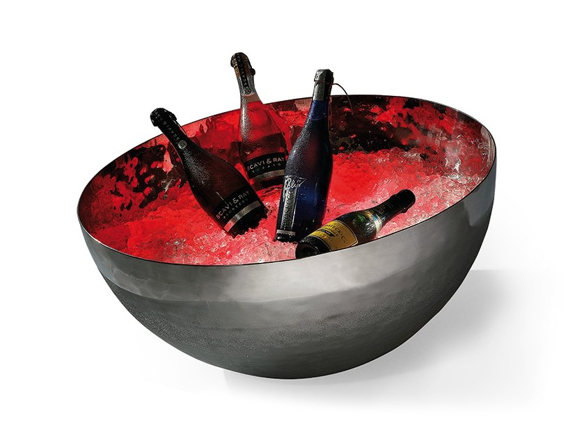 Hammered stainless steel Champagne Cooler CHAMPAGNER BOWL by Zieher