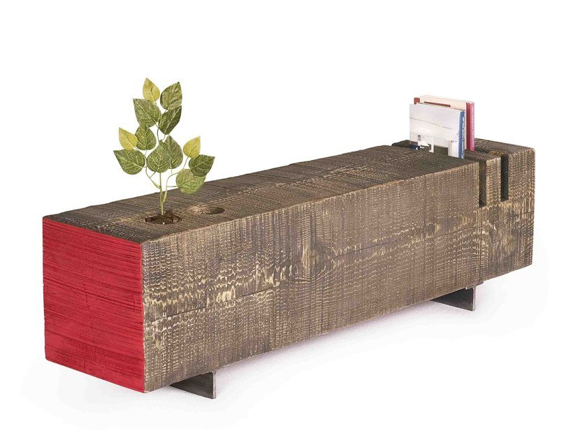 Oak coffee table with flowerpot CHANCE by ARKOF LABODESIGN