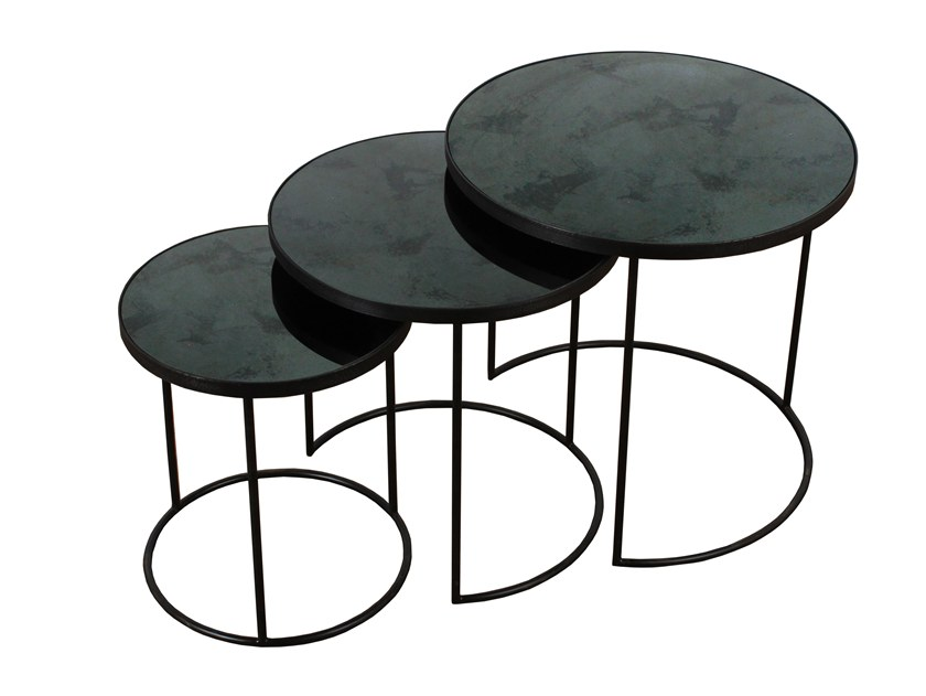 Round Mirrored Glass Side Table Charcoal Nesting Set 3 By Notre Monde
