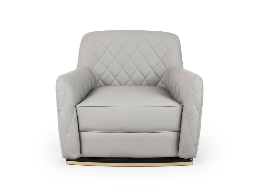 Tufted leather armchair with armrests CHARLA   Armchair by LUXXU