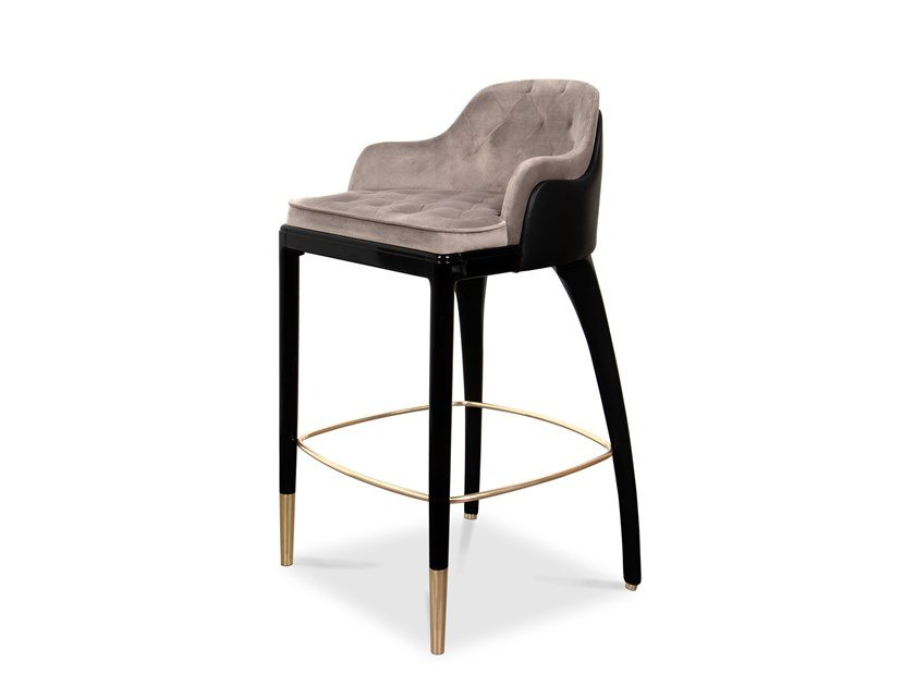High leather barstool with footrest CHARLA | Barstool by LUXXU