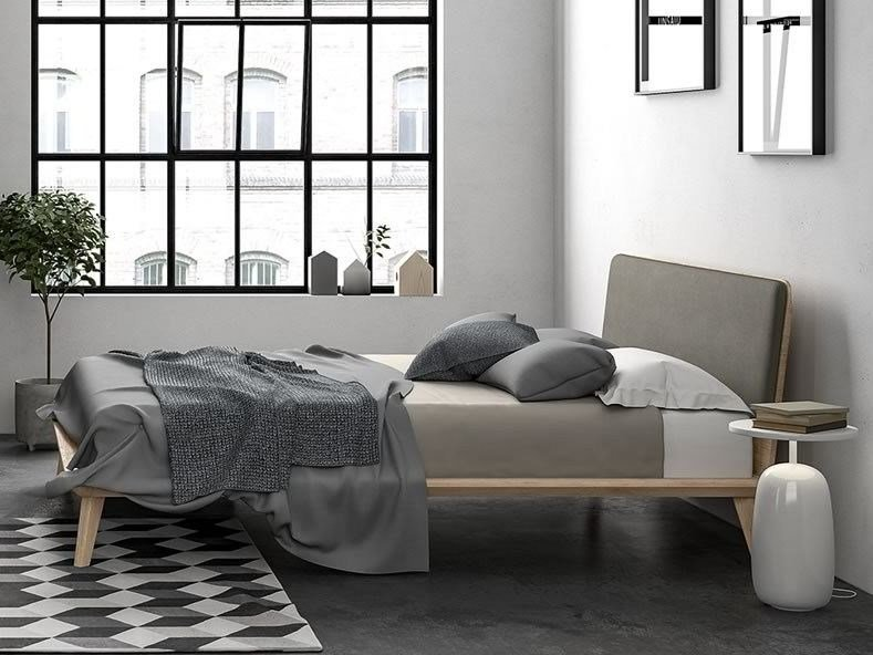 Fabric double bed with upholstered headboard CHARLIE by Dall'Agnese
