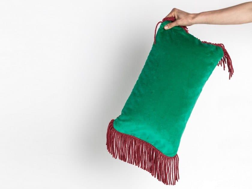 Solid-color rectangular velvet cushion CHARLIE VERT VERONESE & ROUGE FRAMBOISE   Rectangular cushion by Maison Madeleine