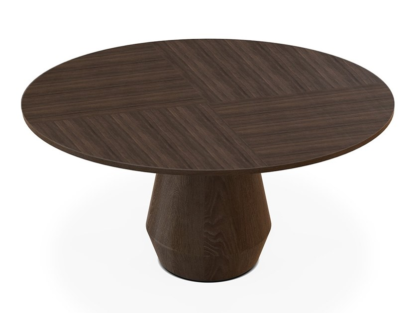 Round wood veneer dining table CHARLOTTE by Collector
