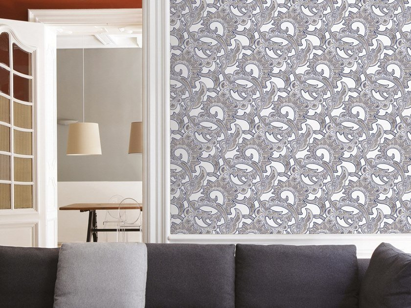 Damask non-woven paper wallpaper CHARLOTTE by Isidore Leroy