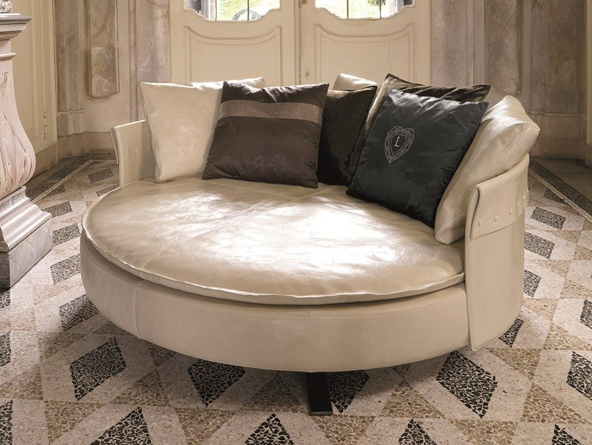 Curved Leather Sofa Charme By Longhi