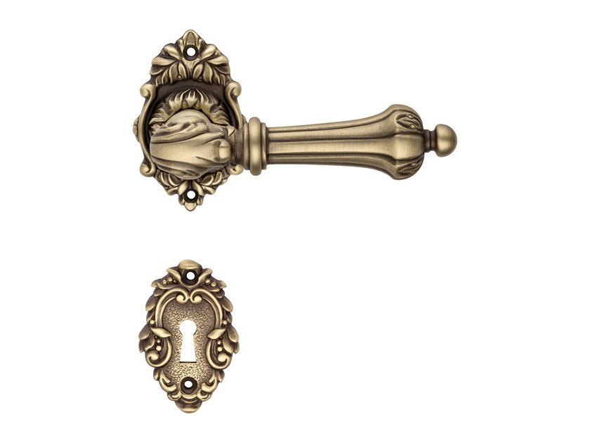Baroque brass door handle with lock CHARME | Door handle with lock by LINEA CALI'