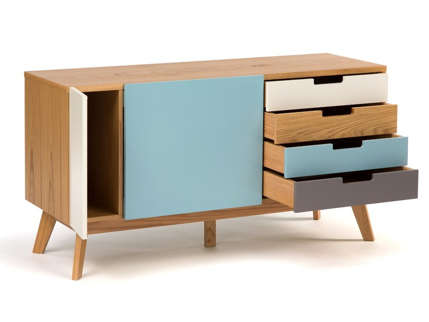 Lacquered wood veneer sideboard with drawers CHASER by Woodman