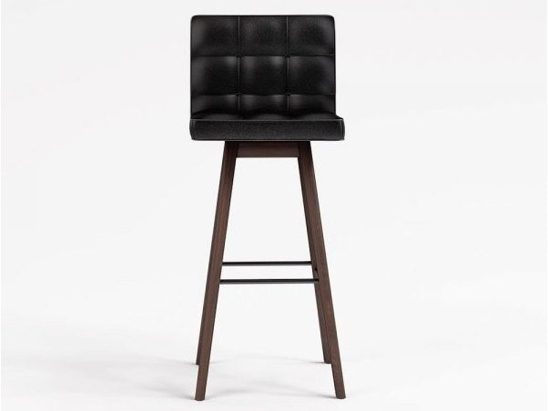 Upholstered imitation leather barstool with back CHELSEA by Emotional Projects