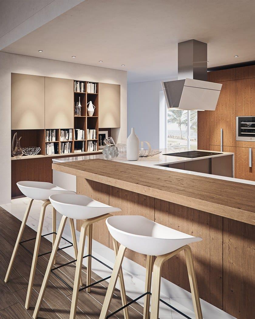 Einbauküche aus Carrara-Marmor mit Kücheninsel CHERRY - GOLD EDITION ...
