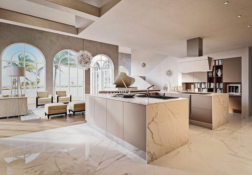 Cucina componibile in marmo di Carrara con isola CHERRY - GOLD ...