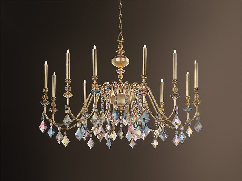 Direct light metal chandelier with crystals CHIC 12 by Masiero