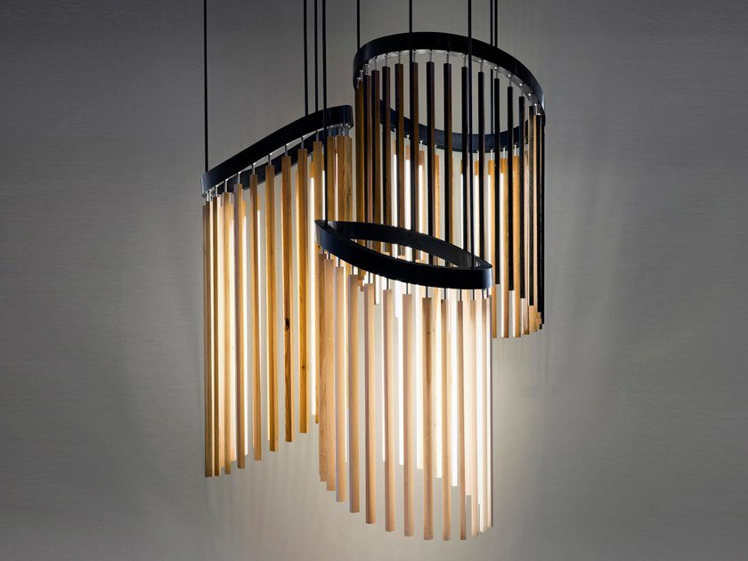 Wooden pendant lamp CHIME by Stickbulb