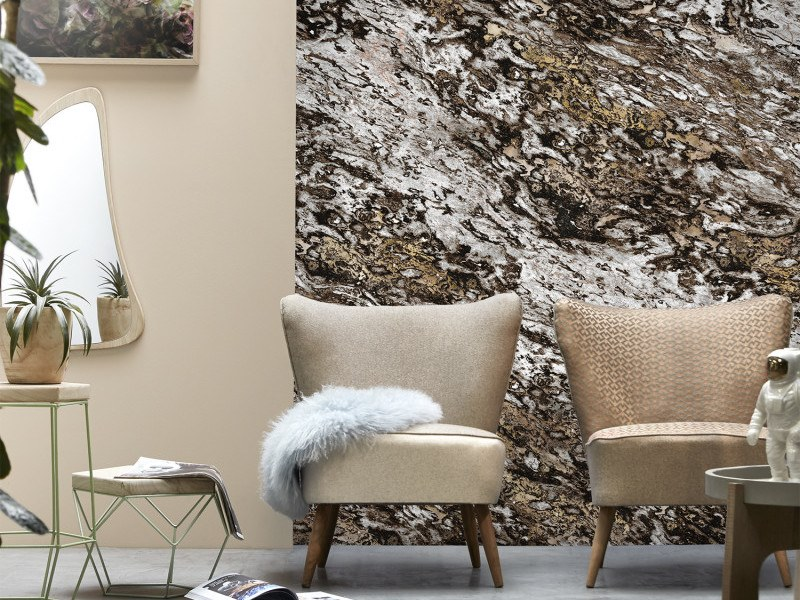 Washable panoramic wallpaper with marble effect CHOCOLATE & COPPER SARRANCOLIN MARBLE | Panoramic wallpaper by Koziel