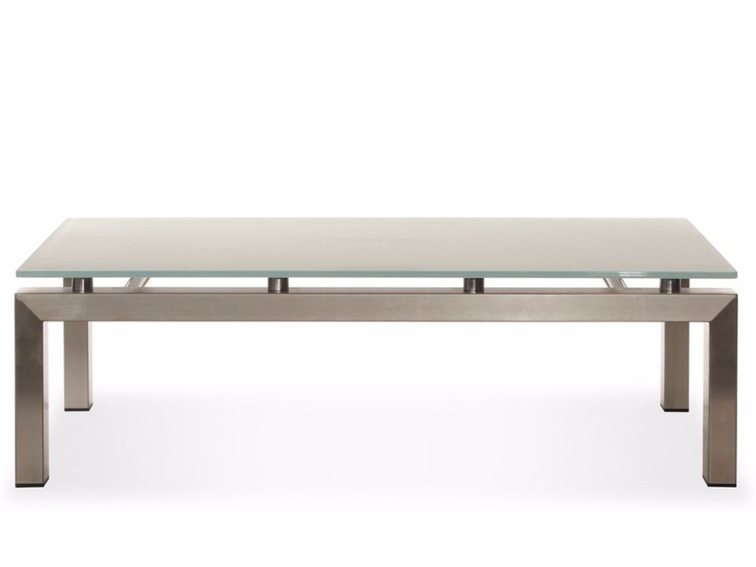 Low square coffee table CHROMINOX | Low coffee table by Joli