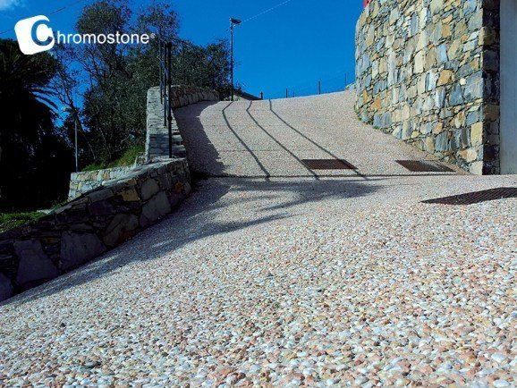 Concrete outdoor floor tiles with stone effect CHROMOSTONE® by Stone International