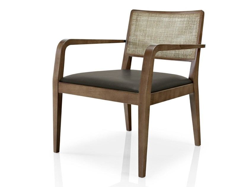 Leather restaurant chair with armrests CIBELLE | Chair with armrests by JMS