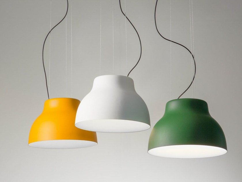 Direct light powder coated aluminium pendant lamp CICALA by Martinelli Luce