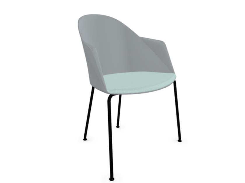 Polypropylene easy chair with armrests with integrated cushion CILA | Easy chair by arper