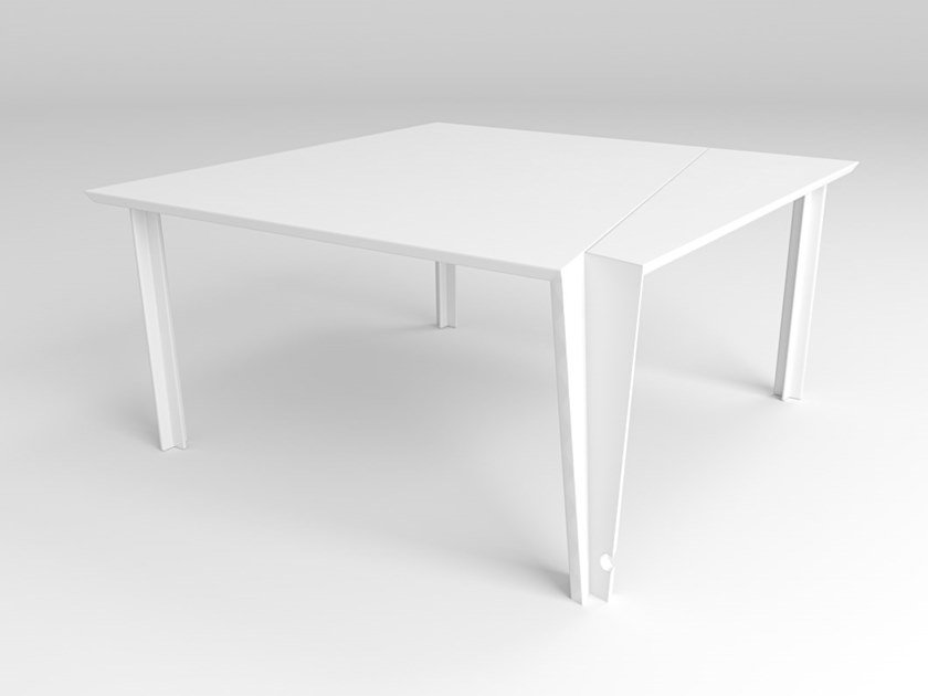 Square office desk with cable management CINDERELLA by Treviso Made