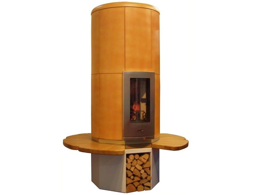 Wood-burning ceramic stove with bench CIR2 | Ceramic stove by KarniaFire