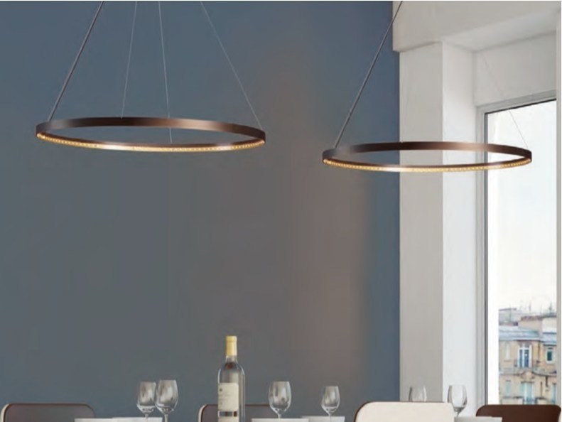 LED direct-indirect light adjustable steel pendant lamp CIRCLE 80 by Le Deun Luminaires
