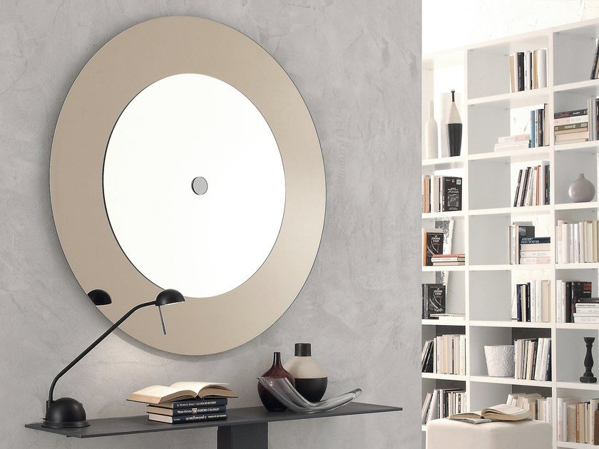 Round wall-mounted mirror with integrated lighting CIRCLE by IDEAS Group