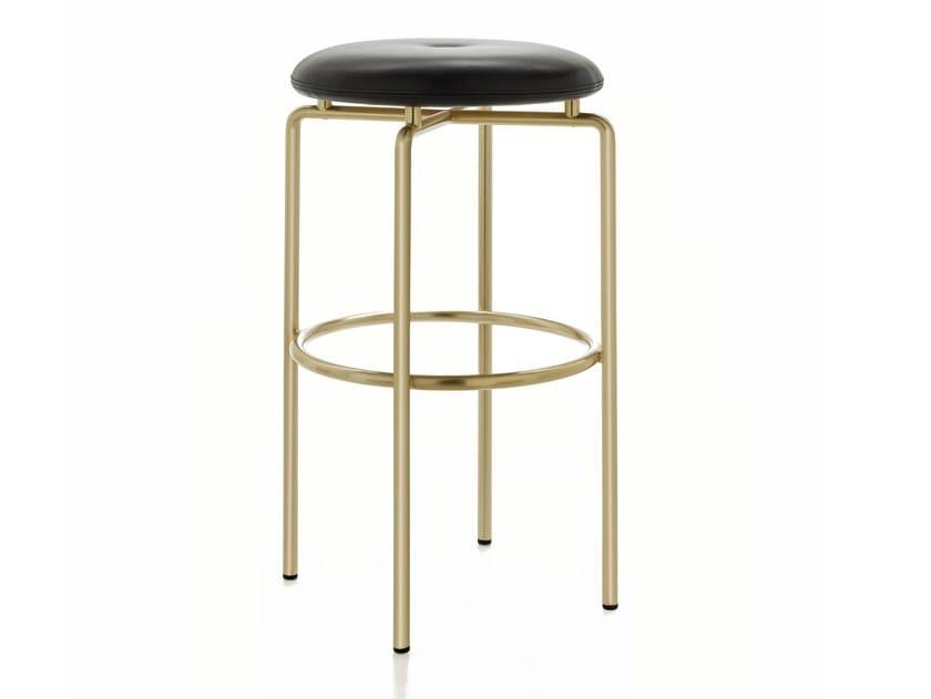 Upholstered bar stool with steel base CIRCULAR | Bar Stool by BassamFellows