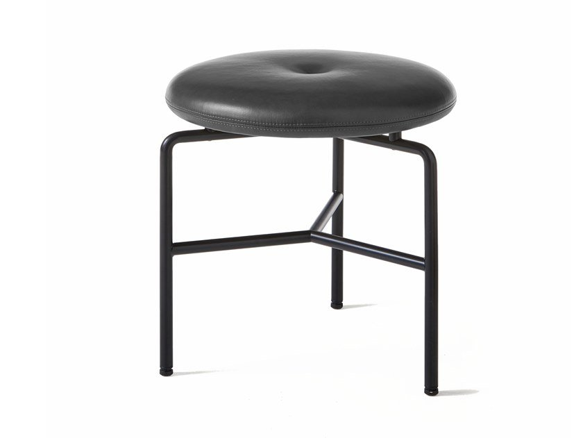 Upholstered stool with steel base CIRCULAR | Stool by BassamFellows