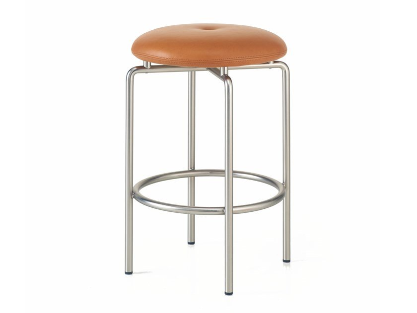 Upholstered counter stool with steel base CIRCULAR | Counter stool by BassamFellows