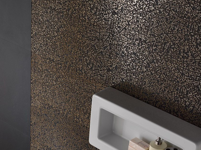 Porcelain stoneware wall/floor tiles with metal effect CITY CORDUSIO BRONZO 3D by LEA CERAMICHE