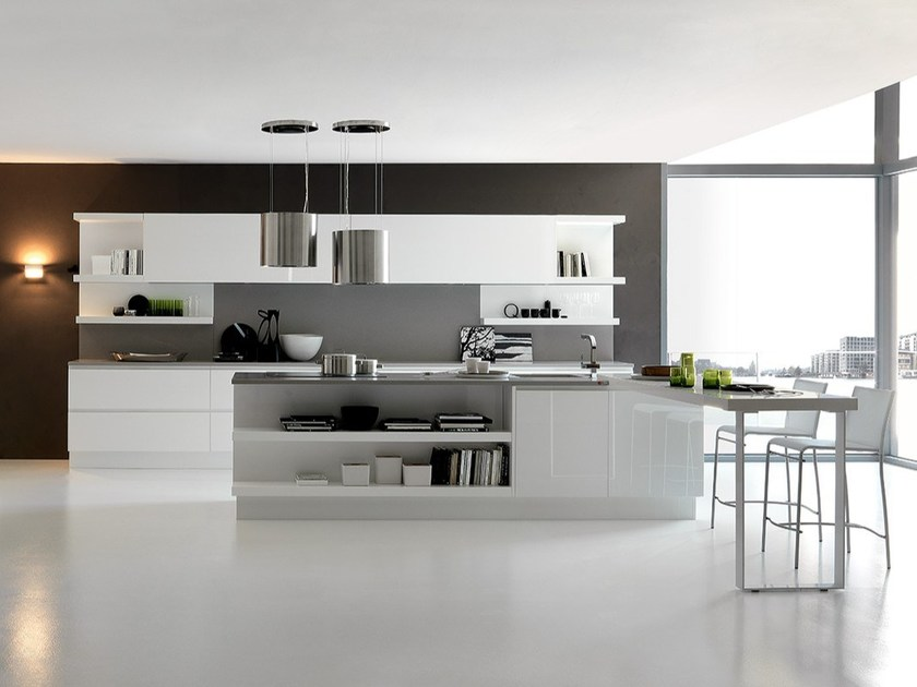 Lacquered linear kitchen with island CITY   Kitchen with island by Febal Casa