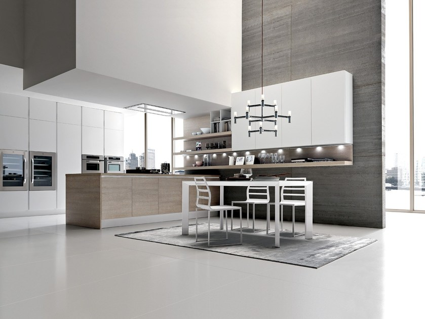 Fitted kitchen with peninsula CITY | Kitchen without handles by Febal Casa