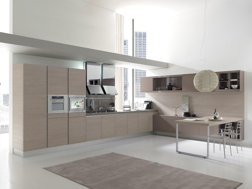 Fitted kitchen with peninsula CITY | Fitted kitchen by Febal Casa