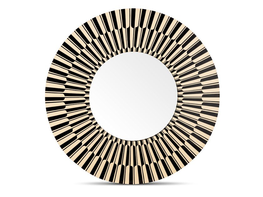 Round framed wall-mounted mirror CITYLIGHTS by Scarlet Splendour