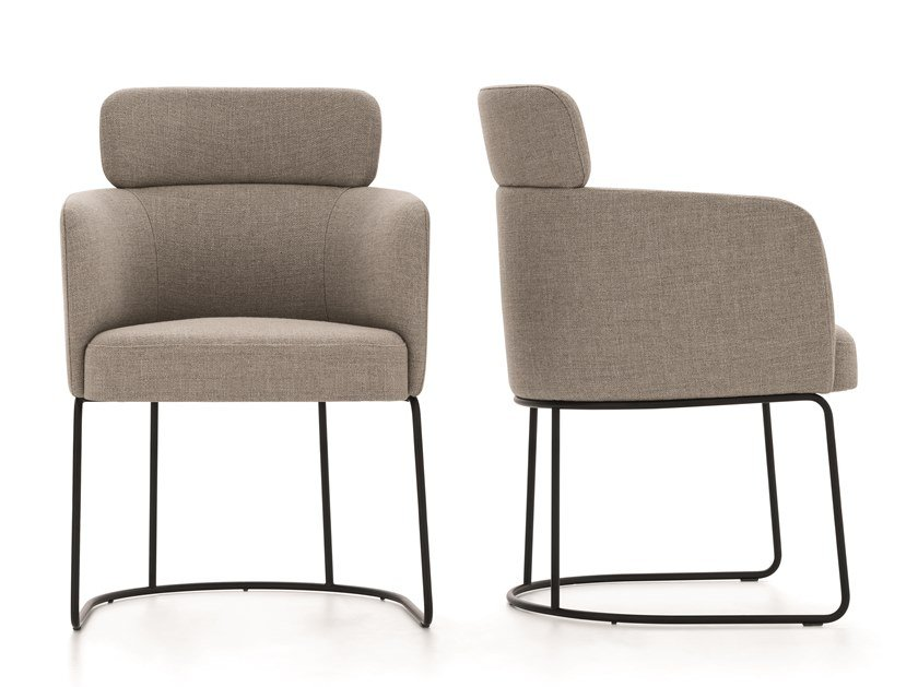 Upholstered fabric chair with armrests CLAIRE | Chair by Ditre Italia