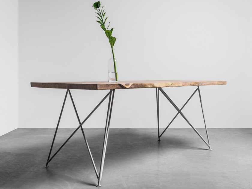 Natural edge table made of solid oak and steel CLAIRE by Hoom