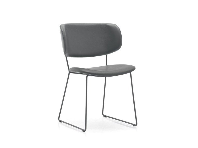 Upholstered leather chair CLAIRE M by Calligaris
